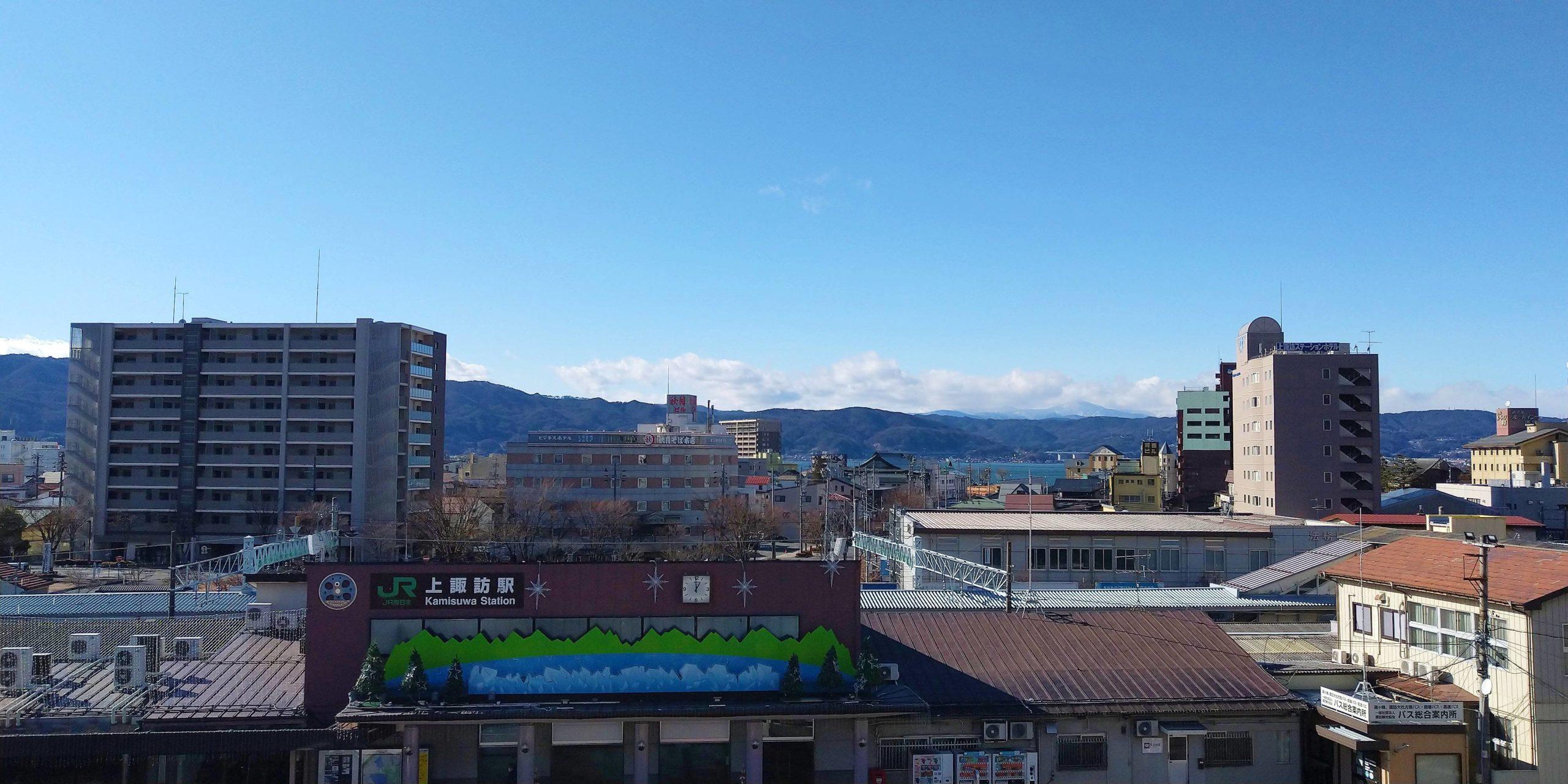 すわっチャオ3階より諏訪湖方面の景色